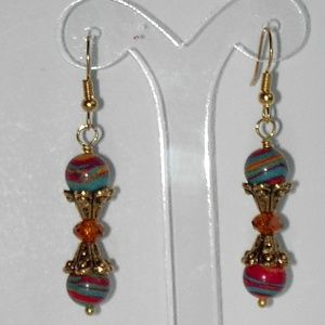 Multi color faux turquoise earrings (#364)
